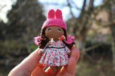 Dollhouse 1/12 scale doll, miniature doll, rabbit bunny doll, brown doll, mini fabric doll, tiny ethnic doll, textile pocket doll, small rag doll