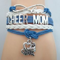 Infinity Love Cheer Mom Bracelet - FREE SHIPPING - Hand Made Leather Strap Wrap