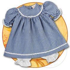 Royal Blue Gingham Doll Dress with RicRac 15F 5661DD RBL
