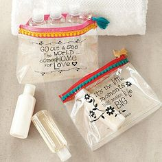 Cute Party favor bags ~  Inspirational Travel Pouches on pbteen.com