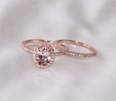 Discount!! Two Ring Set! Oval Cut 7mm VS Halo Morganite Ring 14K Rose Gold SI/H Diamonds Wedding Band /Engagement Ring/ Promise Ring by sandra.orozco.562