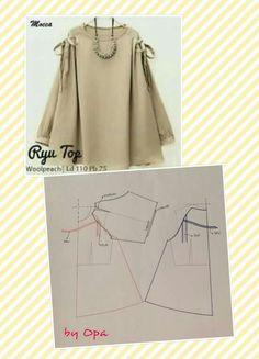 Pattern for muslimah Blouse Patterns, Clothing Patterns, Blouse Designs, Sewing Patterns Free, Sewing Tutorials, Sewing Hacks, Sewing Clothes, Diy Clothes, Dress Making Patterns