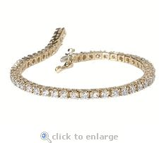 The Ziamond cubic zirconia Tennis Bracelet features approximately 6 carats of the finest cubic zirconia available in a 14k gold setting. #ziamond #cubiczirconia #cz #tennisbracelet #bracelet #14kgold