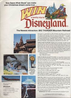 Sears Wishbook contest for opening Disneyland Big Thunderball