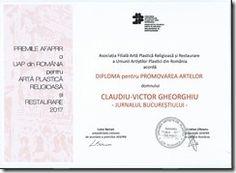 Claudiu Victor Gheorghiu: diploma pentru promovarea artelor in calitate de jurnalist cultural, in 2017 pentru Jurnalul Bucurestiului.