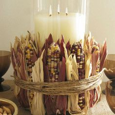 """Mini Indian Corn""""DIY fall decor ideas -- what is it about corn that says Autumn? Thanksgiving Centerpieces, Thanksgiving Crafts, Holiday Crafts, Rustic Thanksgiving, Christmas Holiday, Holiday Ideas, Thanksgiving Vegetables, Origami Christmas, Thanksgiving Celebration"""