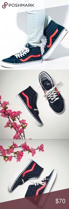 56652b3902c Vans Hi Reissue Neon Leather High Top Navy blue color with neon pink. Men s size  7 Womens Vans Shoes Sneakers