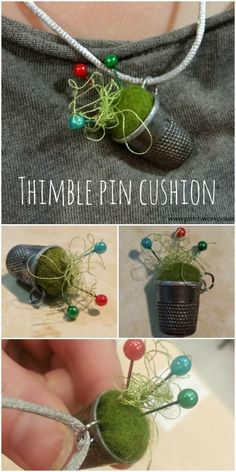 thimble pin cushion tutorial easy and cute.  I have a few thimbles laying around. This is perfect for them.
