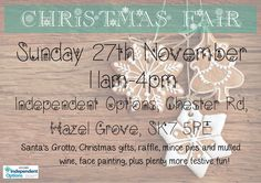 Independent Options #HazelGrove #Stockport  is holding it's fabulously festive Christmas Fair on 27th November!