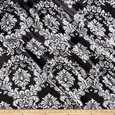 Fabric Charmeuse Satin Old Damask Black/White from @fabricdotcom  Lightweight and silky soft, this charmeuse satin is perfect for blouses, dresses and skirts - especially on the bias. It's also perfect for lingerie and binding baby blankets!