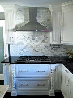 Perfekt White Perimeter Kitchen With Black Countertops, Dark Contrasting Island  With Calcutta Gold Carrera Marble, Marble Subway Tiled Backsplash, Dark  Espresso ...