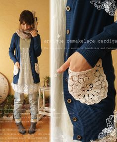 Add doilies to cardigans as pockets or elbow patches. love this idea!