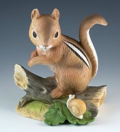 Vintage Porcelain Bisque Figurine Chipmunk And Snail By Homco #1487