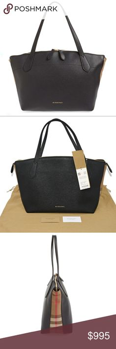 87f86bcbb1 NEW BURBERRY WELBURN MEDIUM LEATHER & CHECK TOTE Authentic Made in  Italy New, never