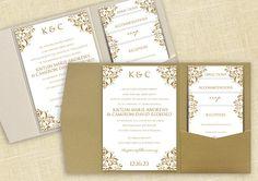 Pocket Wedding Invitation Template Set - Instant DOWNLOAD - EDITABLE TEXT - Nadine (Antique Gold)  - Microsoft Word Format on Etsy, $38.00