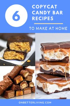 We all have our favorite candy bar. Now we can start making them at home! Here are six recipes to start making your own homemade candy bars from scratch. Candy Recipes, Sweet Recipes, Baking Recipes, Snack Recipes, Dessert Recipes, Bar Recipes, Restaurant Recipes, Copycat Recipes, Snacks
