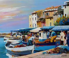 Image - CHRISTIAN JEQUEL - Blog de LARTISTSHOW - Skyrock.com Portofino Italy, Classic Wooden Boats, Z Arts, City Art, Caricature, Landscape Paintings, Nature Photography, Original Paintings, Art Gallery