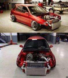 Wow. Huge turbo on this 2JZ swapped Subaru WRX wagon!