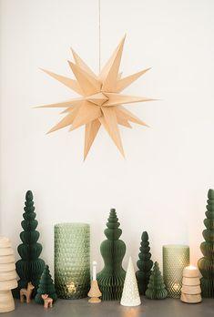 bungalow dk waben- papierbäume evergreen, broste copenhagen holzbaum gill und holzstern venok; kähler leuchtbaum nobili; applicata holzteelichthalterbaum spruce