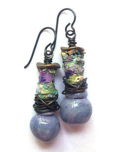 Rustic, Earthy, Bohemian, Colorful, Dangle Earrings, Scorched Earth Light Purple Drops, Multicolor, Black Niobium Ear Wires on etsy