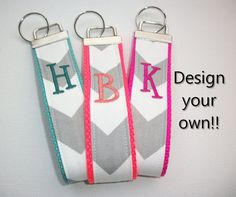 Key FOB / KeyChain / Wristlet inital monogram on your by Laa766 embroidery / custom / personalized / monogrammed initials / preppy / 3 letter monogram / under $10 / school / can huggie