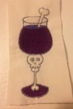 Skull Wine Glass Instant Download Digital Embroidery File Design 4X4