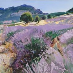 Bob Rudd, Lavender near St Jaile, Provence Watercolour, x Landscape Artwork, Watercolor Landscape, Watercolor Paintings, Lavendar Painting, Guache, Wow Art, Art Oil, Beautiful Landscapes, Amazing Art