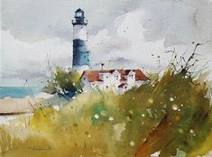 Lighthouse Acuarela s/papel Watercolor Painting Techniques, Watercolour Painting, Watercolour Tutorials, Watercolours, Watercolor Ocean, Watercolor Landscape, Lighthouse Painting, Lighthouse Pictures, Watercolor Architecture