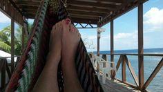 Toes in a hammock. Roatan Honduras. Coco View Dive Resort