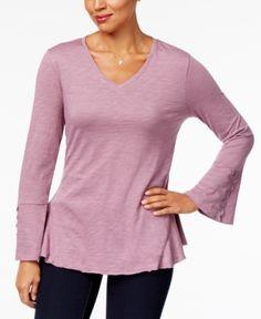 Style & Co Petite Crochet-Trim Side-Flounce Top, Created for Macy's - Purple P/XS