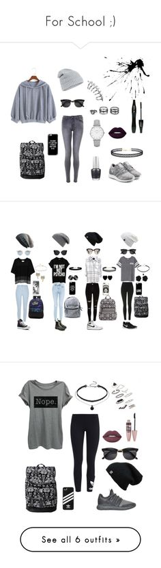 """For School ;)"" by draw4me on Polyvore featuring LULUS, adidas Originals, OPI, Topshop, Accessorize, Lime Crime, Lancôme, Casetify, Public School and New Look"