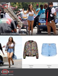 """Check out Ariana Grande in her new """"Baby I"""" Music Video wearing a floral bomber jack and a pair of high waisted denim shorts and shop her look: http://looklive.tumblr.com/post/60564319923/check-out-ariana-grande-in-her-new-baby-i-music"""
