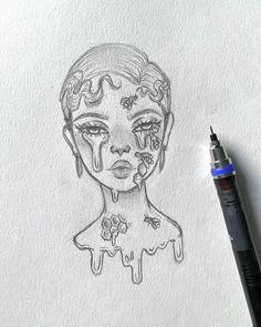 Pinner: Rinusfleur - Made by Chloe // art. Hipster Drawings, Dark Art Drawings, Pencil Art Drawings, Girl Drawing Sketches, Art Drawings Sketches Simple, Cute Drawings, Cute Art Styles, Cartoon Art Styles, Arte Sketchbook