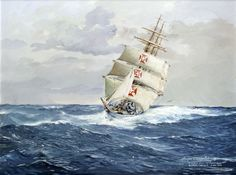 "Sail ship ""Sagres"" from the Portuguese Navy sailing in the Pacific Ocean"