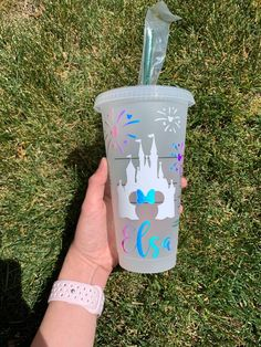 Starbucks mickey and minnie disney castle tumbler, custom Starbucks Cup Art, Disney Starbucks, Custom Starbucks Cup, Starbucks Tumbler, Cute Disney Pictures, Personalized Starbucks Cup, Disney Cups, Custom Cups, Birthday Gifts For Teens
