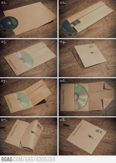 CD Paper Case This is a good way to give mixed CDs to friends.   #DIY