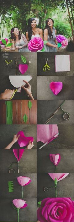 DIY: GIANT PAPER ROSE FLOWER this is a different idea. I wonder if it would be cheaper than real flowers.