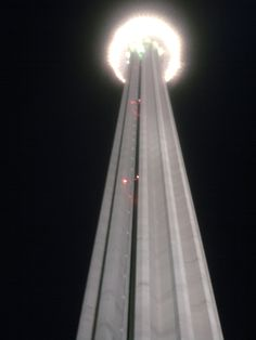 Tower in San Antonio, TX. Something like 800 ft high. Went to the top one night - it made me woozy, but the view was worth it.