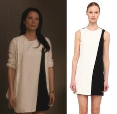 Elementary Season 2, Episode 8: Joan Watson's (Lucy Liu) black and white color block dress by Theory