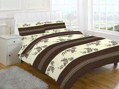 Annaliese Printed Choc-Cream Duvet Quilt Cover Set — Linens Range