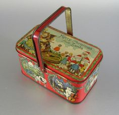 Vintage Tindeco Christmas Candy Container c.1920 Tin Litho Santa Lunch Box