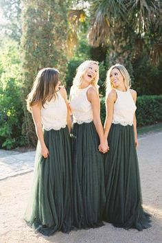 0dff8b592f45 Two Piece Dark Green Lace Bodice Tulle Skirt A Line Custom Bridesmaid  Dresses N814