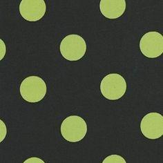 upholstery fabrics - Polka Dot - Black/Lime Indoor/Outdoor Fabric
