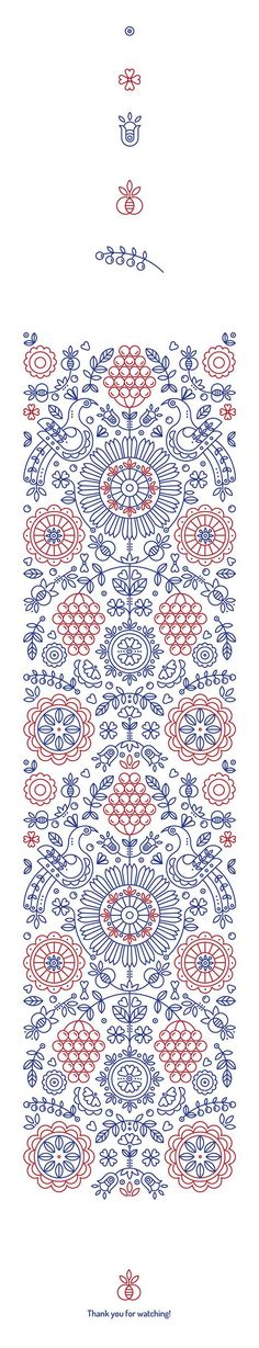 Ethnic pattern based on authentic symbols of classic Ukrainian drawings. line art formed into a simple yet complex pattern #VintageEmbroideryPatterns