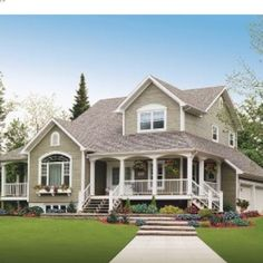 I love the grey / white colors + roof color. Great porches. Interesting window up front - looks like home.
