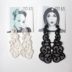 Lace earrings - Clouds - Black