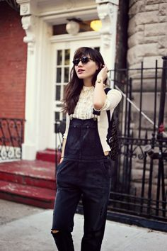 black overalls, white blouse, sunglasses style, long hair, bangs, brunette, ripped jeans, cream, lace, casual, bracelet, accessories, backpack from: natalieoffduty