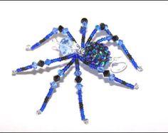 Amelia - blue and black glass beaded spider goth sun catcher - Halloween - Christmas ornament