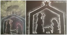 This beautiful Nativity Chalk Silhouette is a wonderful way to remember why we celebrate Christmas. Christian Christmas Crafts, Christmas Crafts For Kids To Make, Christmas Activities For Kids, Preschool Christmas, Scripture Crafts, Bible Story Crafts, Christmas Chalkboard Art, Nativity Silhouette, Christmas Jars