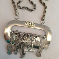 What great use of a Vintage Belt Buckle - --Pendant NecklaceSilvertoneBuckleVintage by ravished